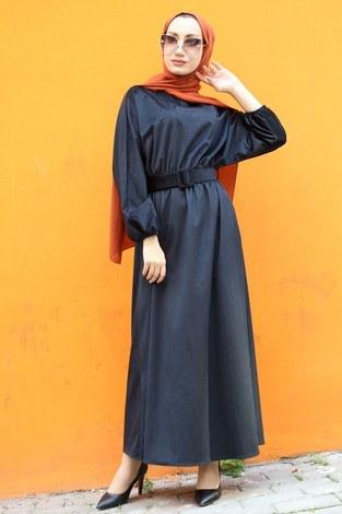 Kemerli Kadife Elbise 2530-01 siyah - Thumbnail