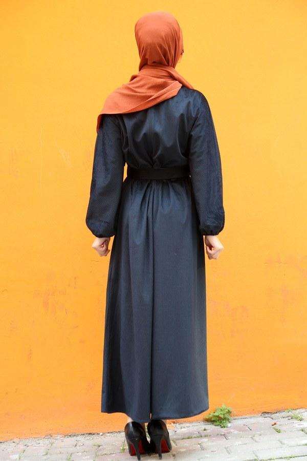 Kemerli Kadife Elbise 2530-01 siyah