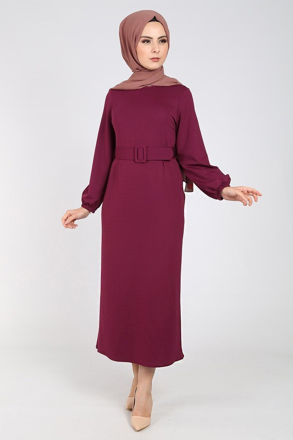 Kemerli Kalem Elbise 1717-3 Elifnur Mürdüm