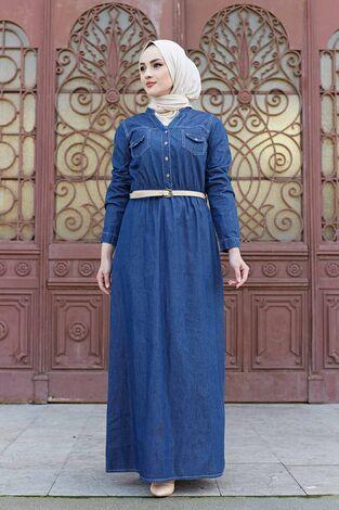 Kemerli Kot Elbise 190E1533 Koyu Mavi - Thumbnail