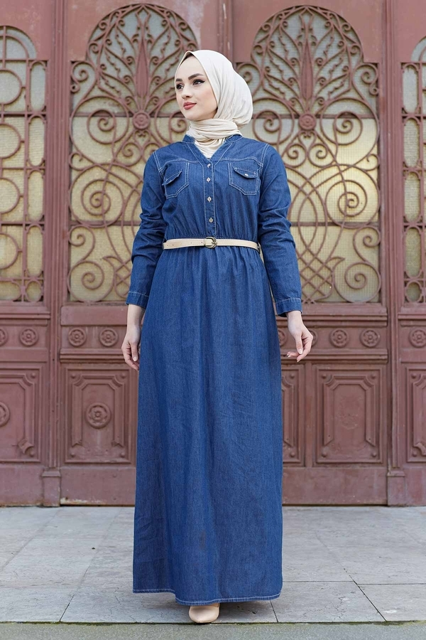 Kemerli Kot Elbise 190E1533 Koyu Mavi
