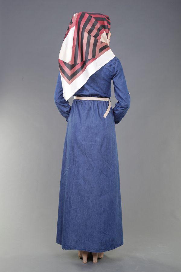 Kemerli Kot Elbise K.Mavi 8965-6