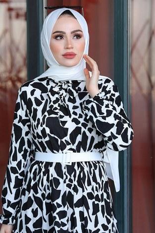 - Kemerli Kravatlı Elbise 17639-1 Siyah Beyaz (1)
