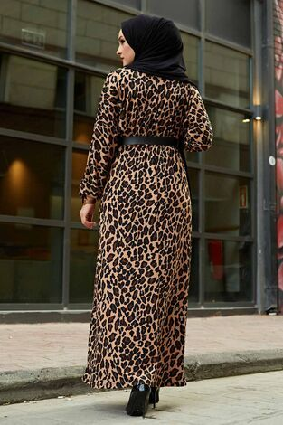 Kemerli Leopar Desenli Elbise 120NY6742 Kahve - Thumbnail