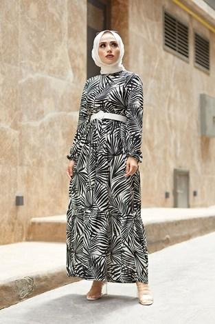 - Kemerli Palmiye Elbise 8905-1 Siyah