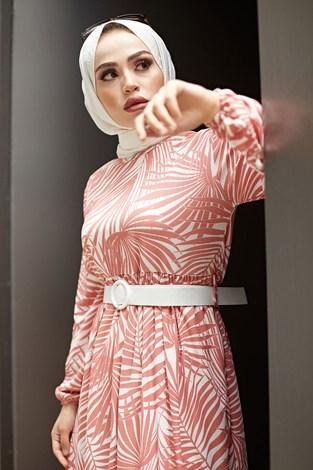 - Kemerli Palmiye Elbise 8905-2 Gül K. (1)