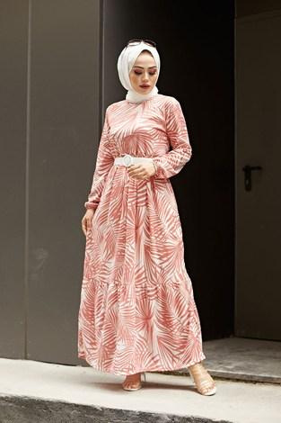 - Kemerli Palmiye Elbise 8905-2 Gül K.