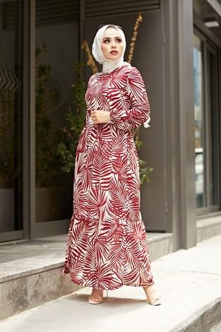 - Kemerli Palmiye Elbise 8905-3 Bordo