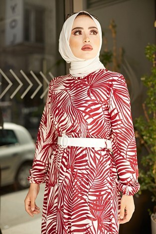 - Kemerli Palmiye Elbise 8905-3 Bordo (1)