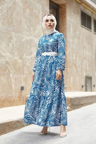 - Kemerli Palmiye Elbise 8905-4 İndigo