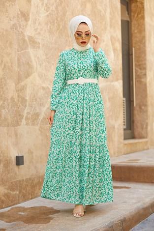 - Kemerli Papatya Desenli Elbise 15943-7 Yeşil