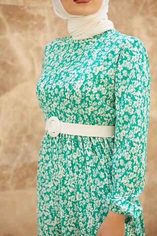 - Kemerli Papatya Desenli Elbise 15943-7 Yeşil (1)