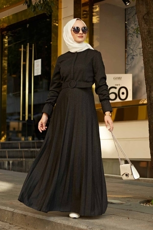 - Kemerli Piliseli Elbise 5051-1 Antrasit