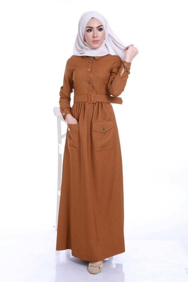 Kemerli Şık Tesettür Elbise 6540-02
