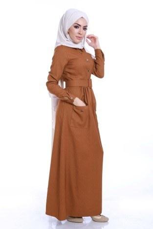 Kemerli Şık Tesettür Elbise 6540-02 - Thumbnail