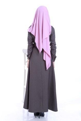 Kemerli Şık Tesettür Elbise 6540-03 - Thumbnail