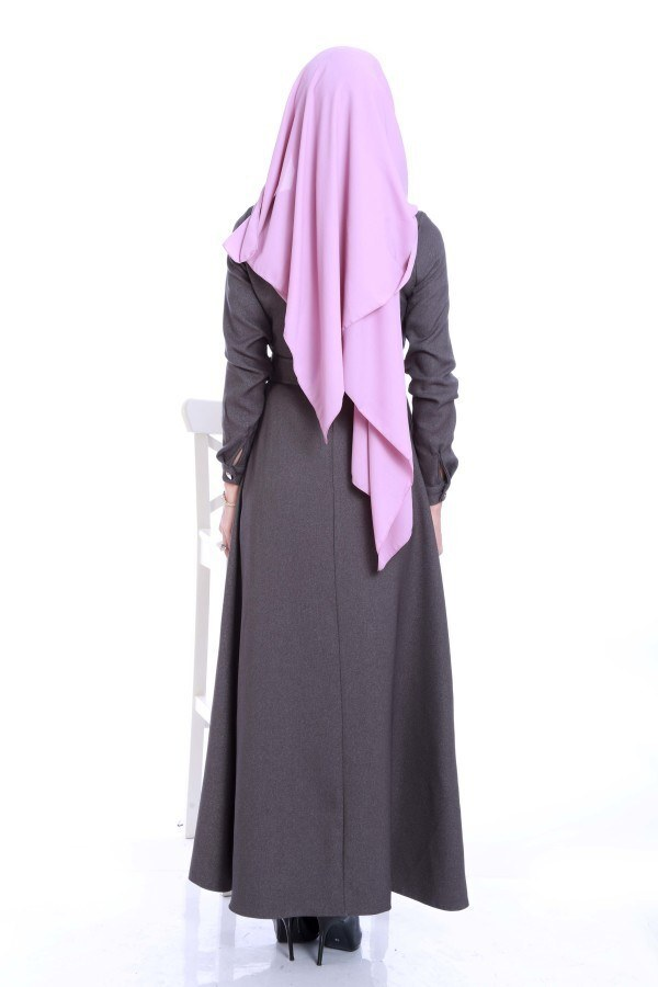 Kemerli Şık Tesettür Elbise 6540-03