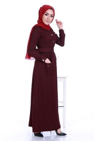 Kemerli Şık Tesettür Elbise 6540-04 - Thumbnail