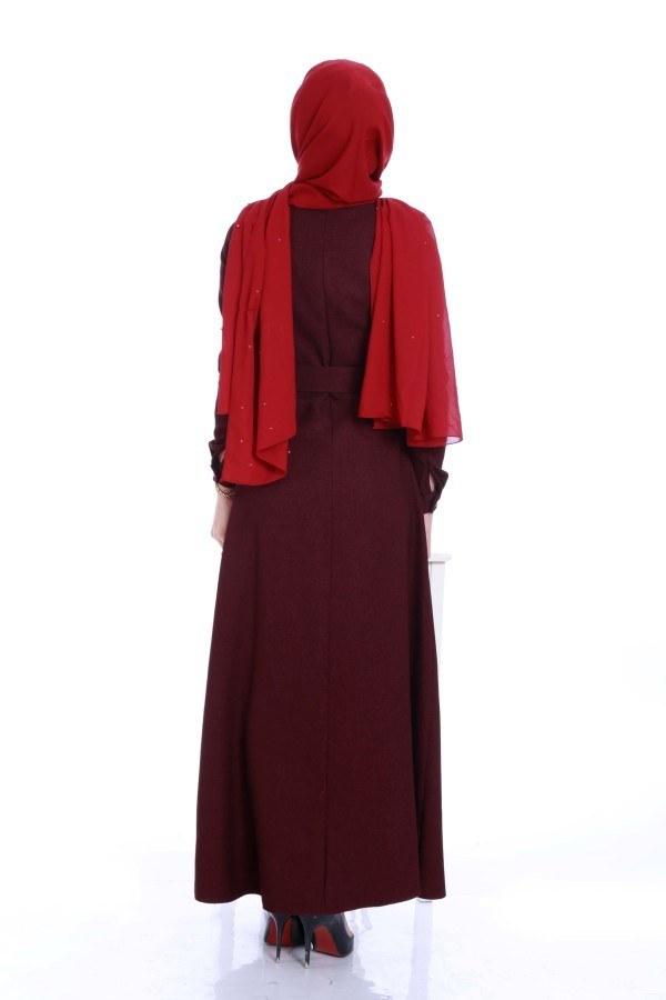 Kemerli Şık Tesettür Elbise 6540-04