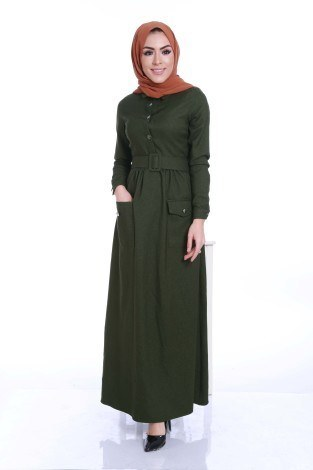 Kemerli Şık Tesettür Elbise 6540-05 - Thumbnail