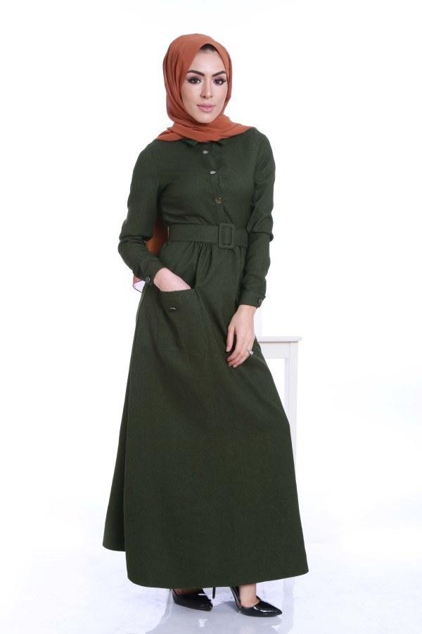 Kemerli Şık Tesettür Elbise 6540-05