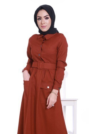 Kemerli Şık Tesettür Elbise 6540-06 - Thumbnail
