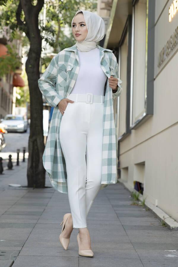 Kemerli Tesettür Pantolon Beyaz
