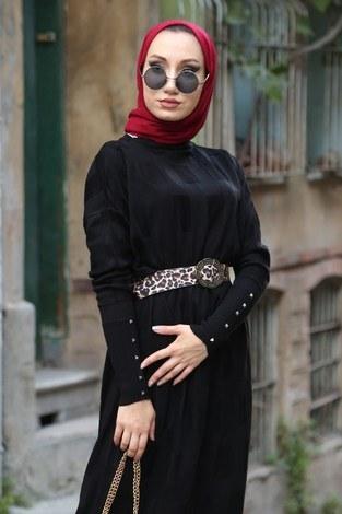 - Kemerli Triko Elbise 1010-01 siyah (1)
