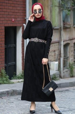 - Kemerli Triko Elbise 1010-01 siyah
