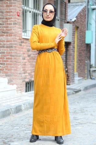 Kemerli Triko Elbise 1010-10 sarı - Thumbnail