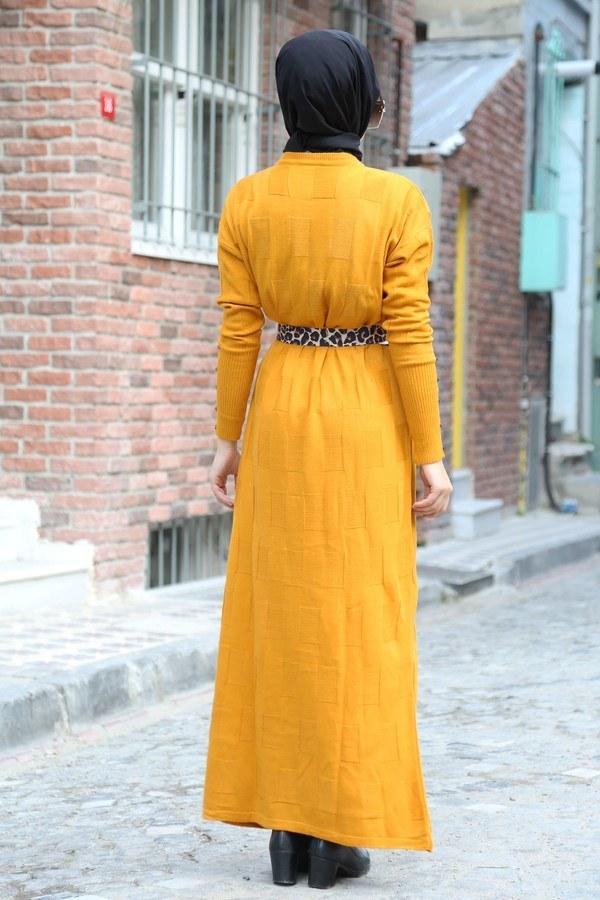 Kemerli Triko Elbise 1010-10 sarı