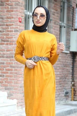 - Kemerli Triko Elbise 1010-10 sarı (1)