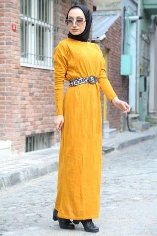 - Kemerli Triko Elbise 1010-10 sarı