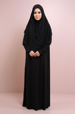 - Kendinden Başörtülü Namaz Elbise 9670-4 Siyah