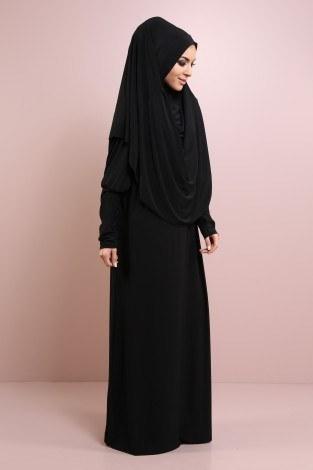 Kendinden Başörtülü Namaz Elbise 9670-4 Siyah - Thumbnail