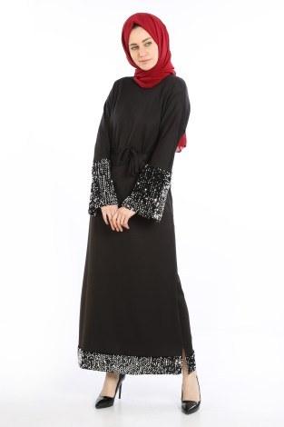 - Pul Payet Detaylı Elbise 5664-01