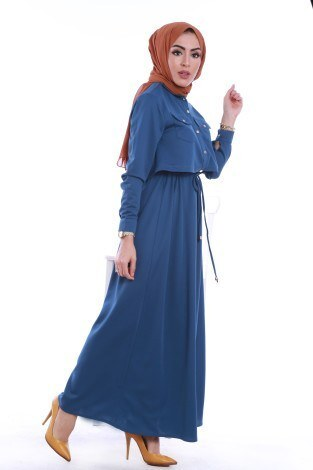 - Şık Tesettür Elbise 8201-02