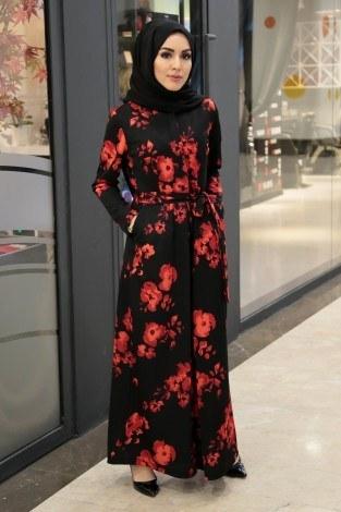 - Kırmızı çiçekli Desen Tesettür Tulum 890733-01