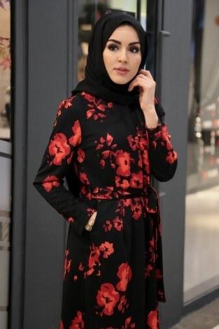 Kırmızı çiçekli Desen Tesettür Tulum 890733-01 - Thumbnail