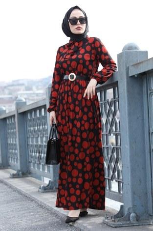 - Kıravatlı Puantiyeli Tesettür Elbise 11590-1