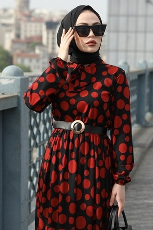- Kıravatlı Puantiyeli Tesettür Elbise 11590-1 (1)