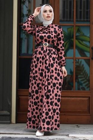 - Kıravatlı Puantiyeli Tesettür Elbise 11590-2