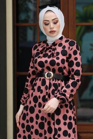 - Kıravatlı Puantiyeli Tesettür Elbise 11590-2 (1)