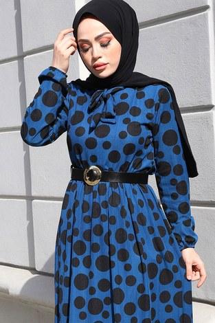 - Kıravatlı Puantiyeli Tesettür Elbise 11590-6 (1)