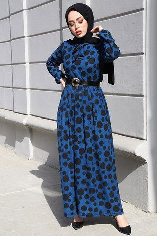 - Kıravatlı Puantiyeli Tesettür Elbise 11590-6