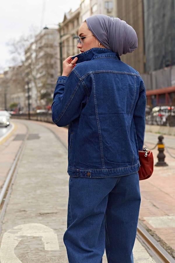Kısa Kot Ceket 190E-5002 Koyu Mavi