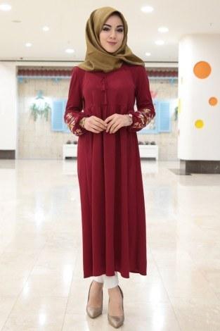- Kol Ucu Nakışlı Robalı Tunik Elbise 1456-1 Kırmızı