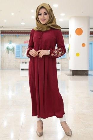 - Kol Ucu Nakışlı Robalı Tunik Elbise 1456-1 Kırmızı (1)