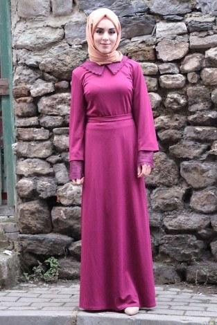 Kolları Dantel Detaylı Kemerli Elbise Fuşya 44509-4 - Thumbnail