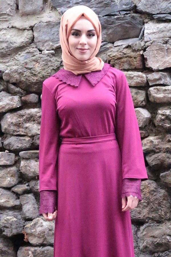 Kolları Dantel Detaylı Kemerli Elbise Fuşya 44509-4